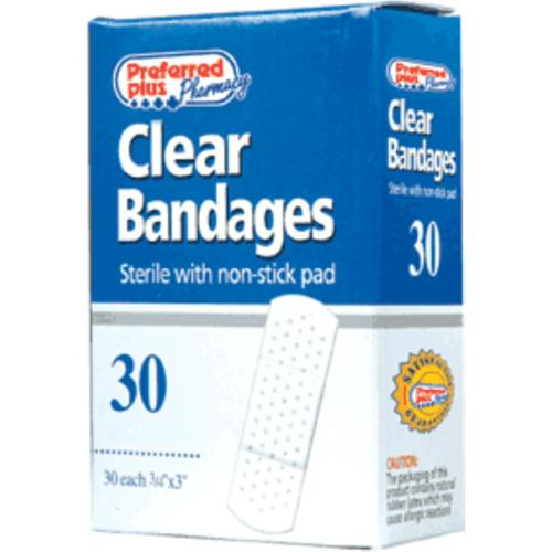 Bandages Clear Adhesive Sterile  with Non-Stick Pads - 3/4 Inch X 3 Inches  30 ea (Pack of 2)