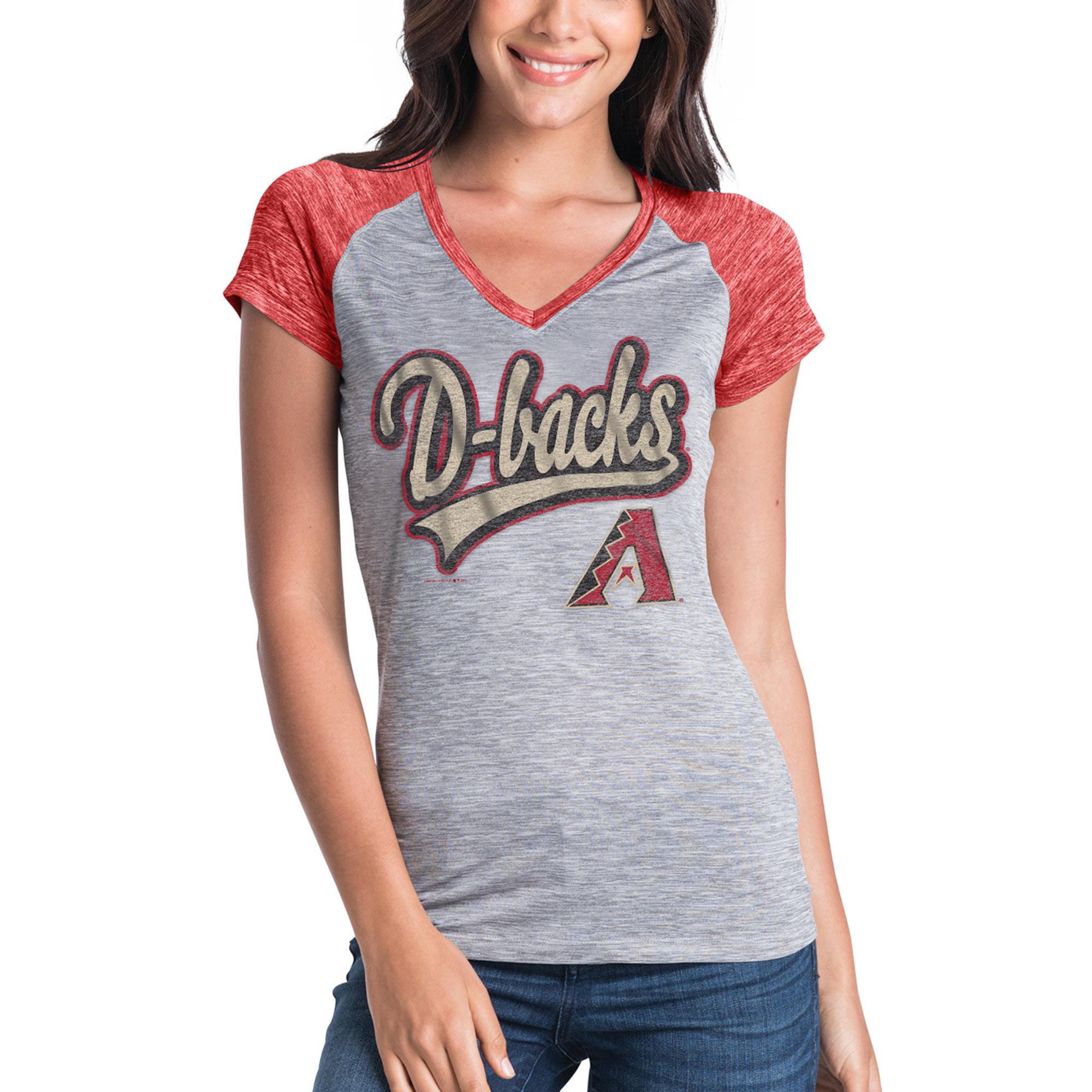 Women's New Era Gray Arizona Diamondbacks Space Dye V-Neck T-Shirt