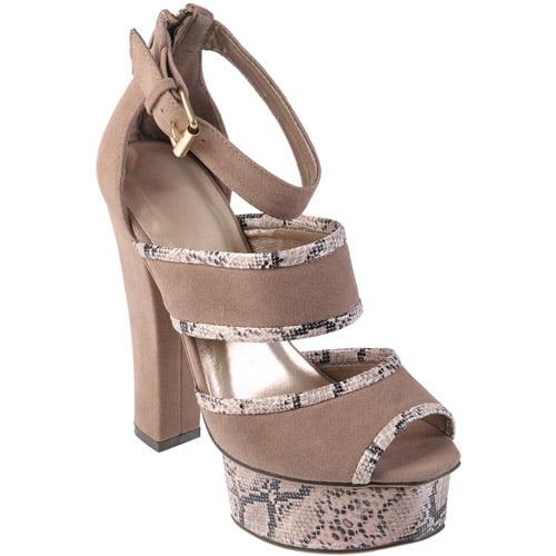 Brinley Co Women's Peep Toe Snake Print Platform Heel
