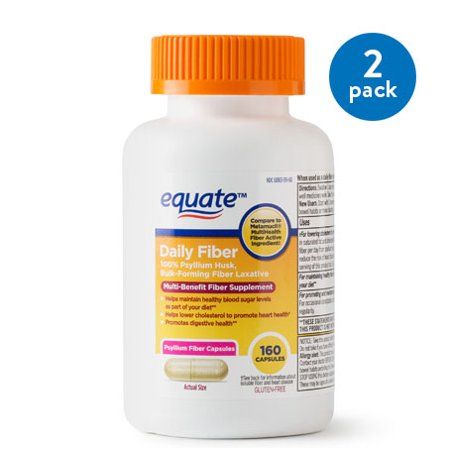 (2 Pack) Equate Daily Multi-Benefit Psyllium Fiber Capsules, 160 Ct