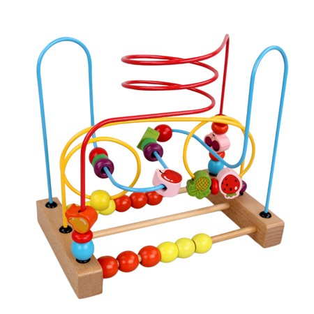 Counting Fruit Bead Wire Maze Roller Coaster Wooden Educational Toy for Baby Kids Chilrden