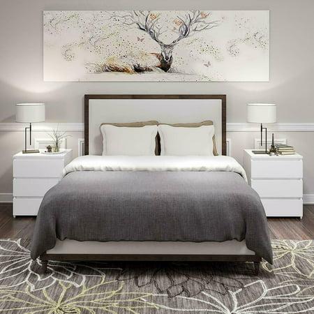 Tebru White Modern Bedside Table Cabinet Nightstand with 3 Storage Drawers Bedroom Furniture,Modern Bedside Table,Bedside Table