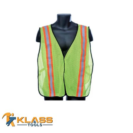 Lime Green General Purpose Safety Mesh Vest with Reflector Stripes (Size: OSFA)