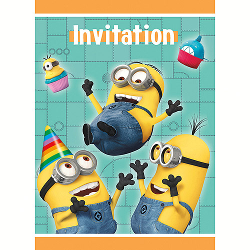 Despicable Me 2 Minions Birthday Party 8 ct Invitations w/ Envelopes