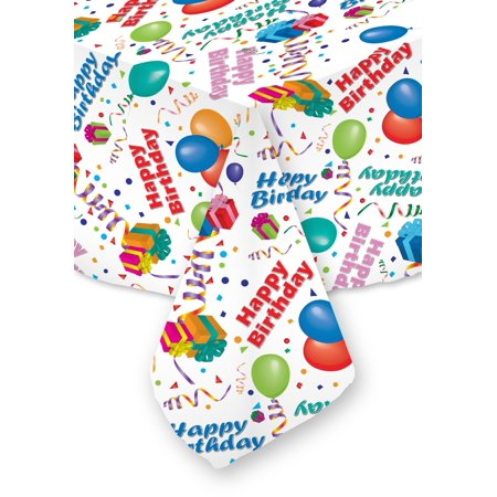 70 x 120 Happy Birthday Tablecloth White Restaurant Quality Fabric Machine Wash and Dry No Wrinkles No Iron No Stains All Sizes! Made in USA White 70 X 120 ()