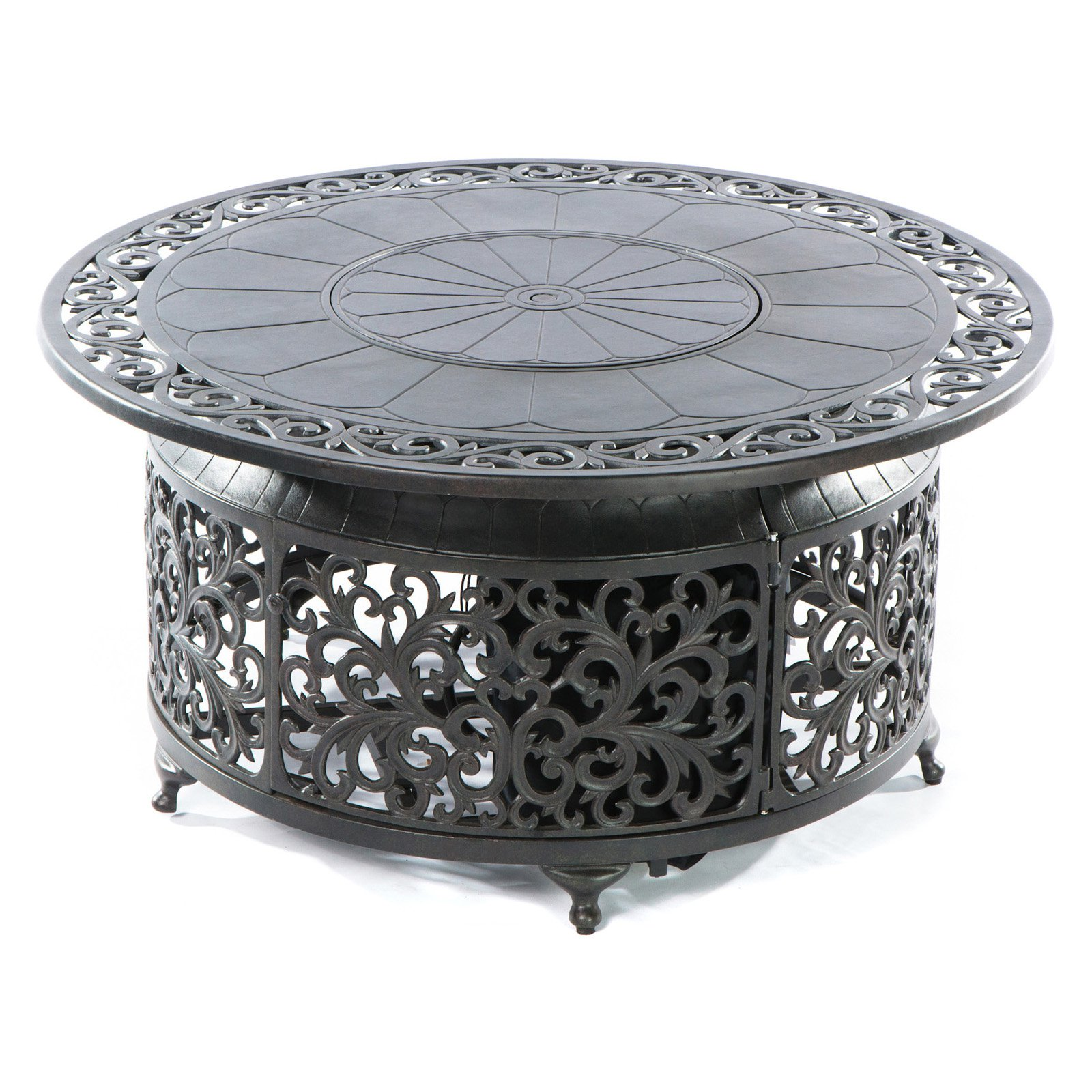 Alfresco Home Bellagio Cast Aluminum Diam Fire Pit Walmartcom - Cast aluminum gas fire pit table
