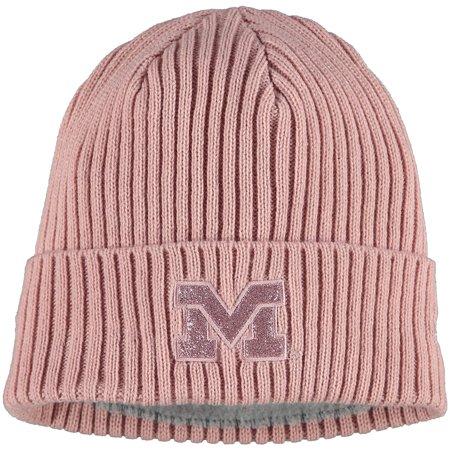 Michigan Wolverines New Era Women's Team Glisten Cuffed Knit Hat - Pink - OSFA