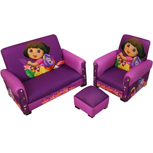 Nickelodeon - Dora the Explorer Hiking Deluxe Toddler Sofa, Chair and Ottoman Set