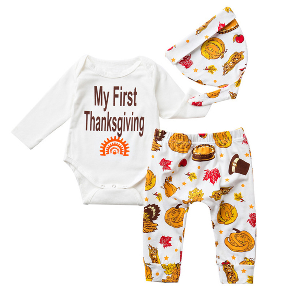 1de20b194d2 My First Thanksgiving Romper Cute Outfit Baby Newborn Boy Girl Cotton  Clothing - Walmart.com