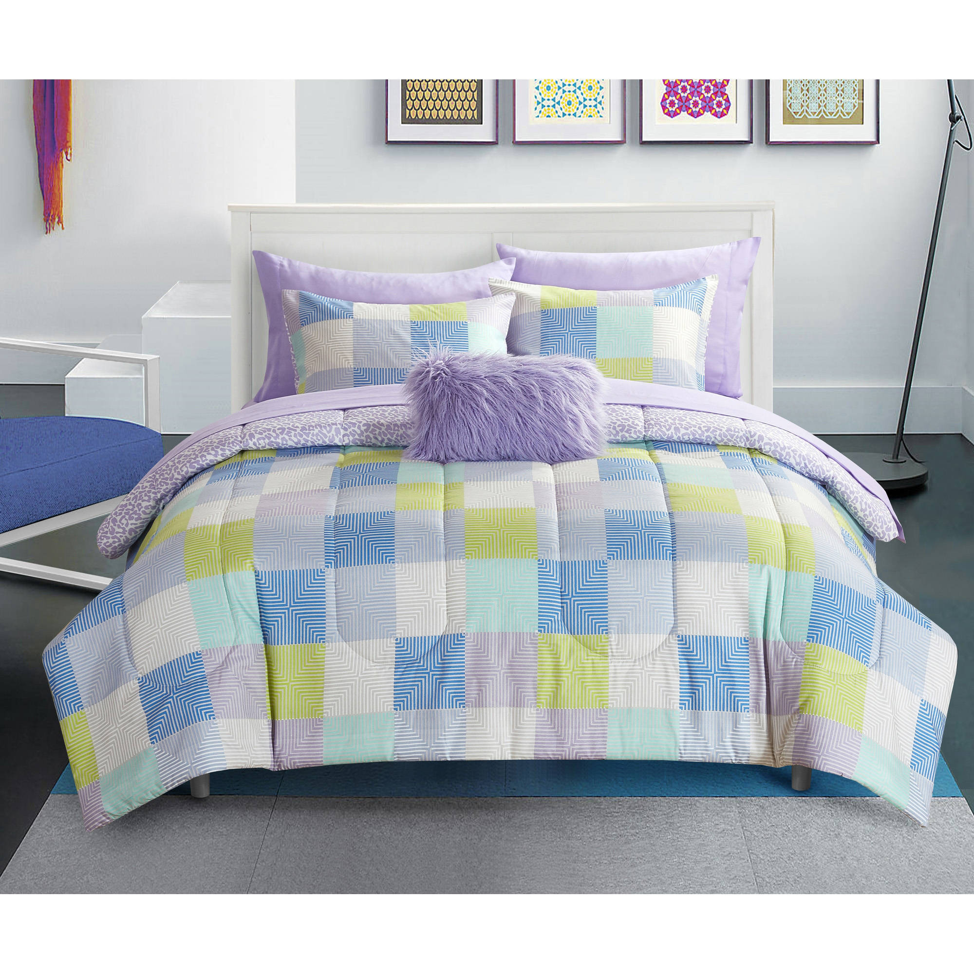 your zone geo blocks purple bed in a bag bedding set
