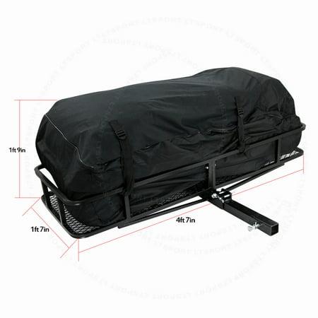 fit kia trailer hitch storage rack cargo bag carrier w 57 x21 folding basket. Black Bedroom Furniture Sets. Home Design Ideas