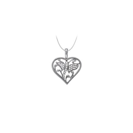 April birthstone Cubic Zirconia Heart Pendant in Sterling Silver 0.15 CT TGWValentine Day Gift - image 2 of 2