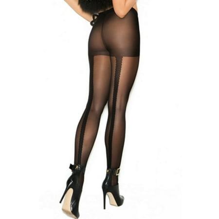 Woven Lace Back Seam Pantyhose Elegant Moments 1134 Black