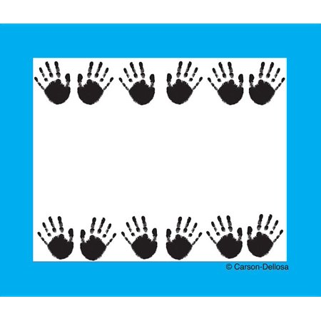 Handprints Name Tags These convenient, self-adhesive name tags are ideal for labeling, reminders, calendar and homework notes, and more! Each pack features 40 name tags, measuring 3  x 2.5. Available in a variety of prints, name tags are fun addition to any classroom!