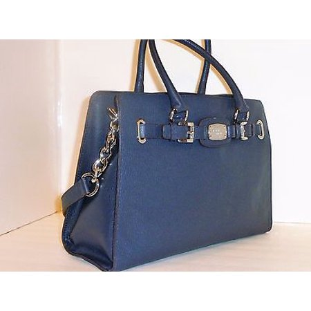 d7e163ffbf21 Michael Kors - Michael Kors Navy Leather Large East West Hamilton Tote Bag  - Walmart.com