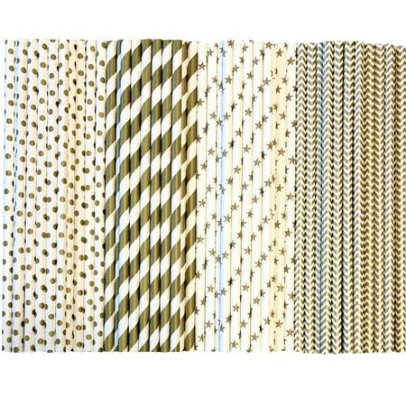 Bulk Gold and White Stripe,Dot and Chevron Paper Straws 300 - Gold Straws