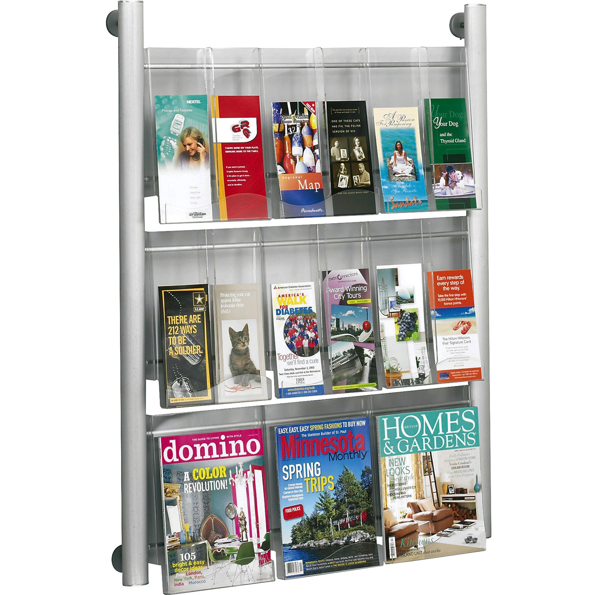 Safco Luxe 9 Pocket Magazine Wall Rack, Silver Frame, 1 Each (Quantity)