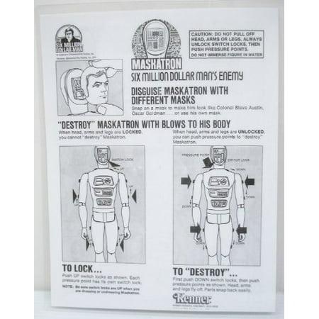 1973/76 Six Million Dollar Man Maskatron Instruction Sheet - Copy, Laminated (Dollar Bead)