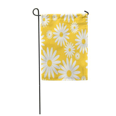 SIDONKU Chamomile White Daisies Pattern on Yellow Daisy in Flat Design Tiny Flowers Abstract Garden Flag Decorative Flag House Banner 12x18