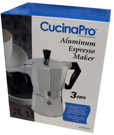 Aluminum Espresso Maker (CucinaPro) 270-03, 3 Cup by