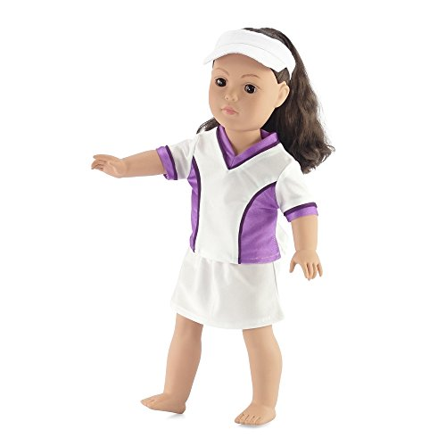 """Fits American Girl Dolls 18"""" Tennis Outfit with Visor 18 Inch Doll Clothes clothing by Emily Rose Doll Clothes"""