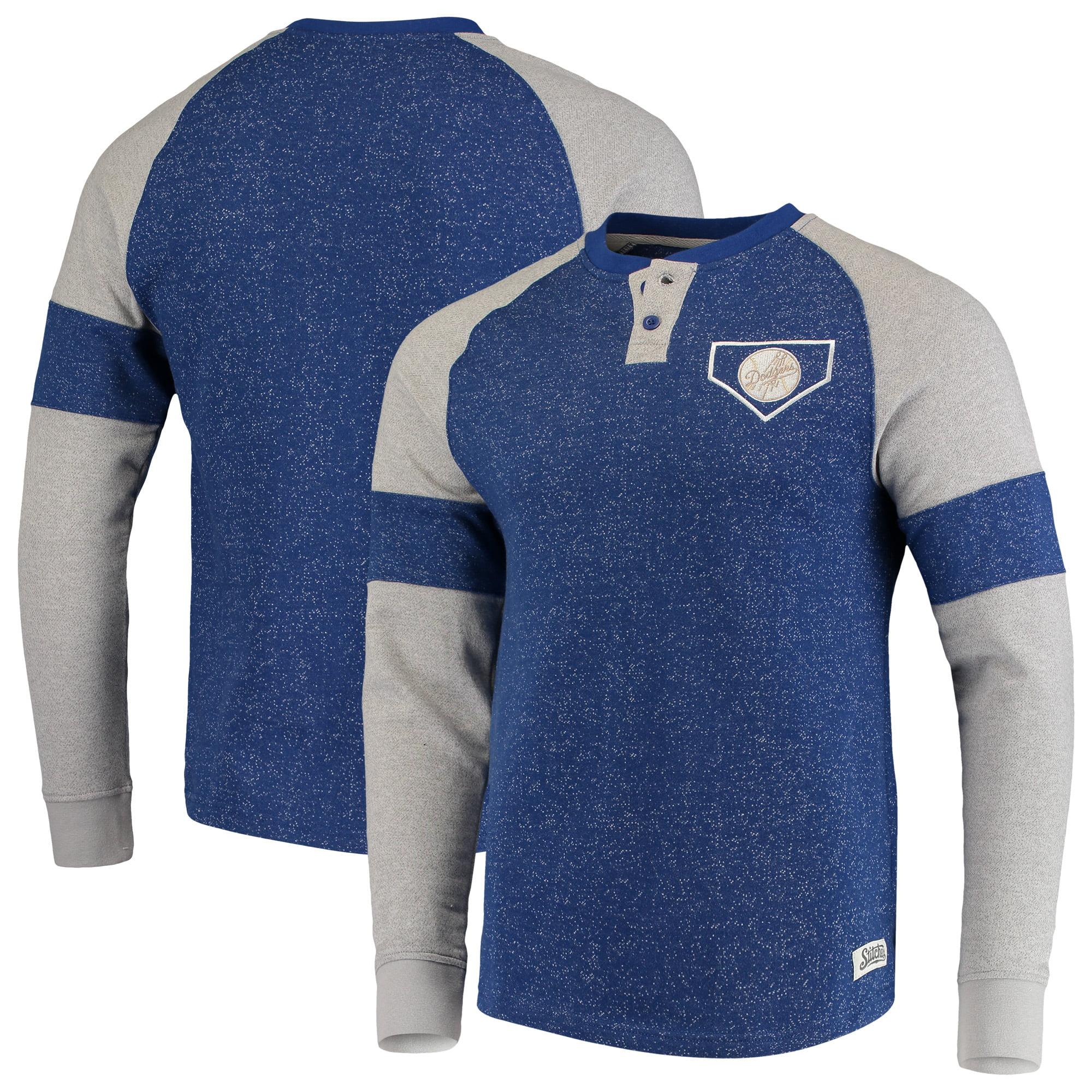 Los Angeles Dodgers Stitches Twisted Yarn Henley Long Sleeve Raglan T-Shirt - Heathered Royal