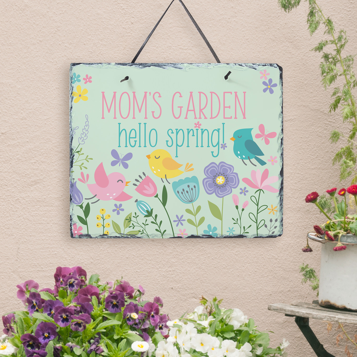 Personalized Hello Spring! Slate