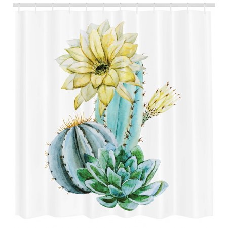 Cactus Shower Curtain Vector Image With Watercolored Spikes And Alluring Flowers Print