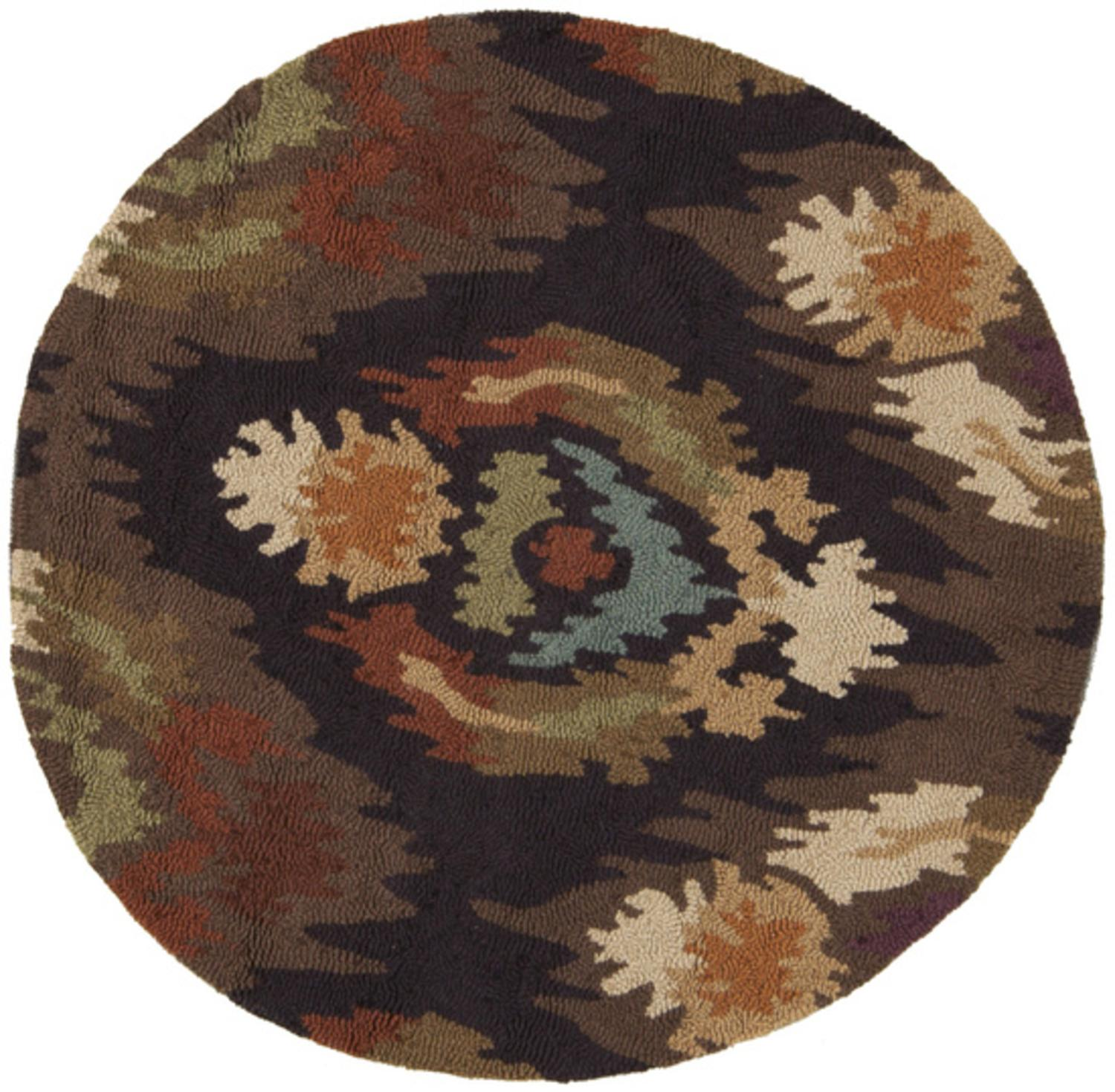 3' Adobe Flame Dark Pecan, Cumin and Espresso Hand Hooked Round Area Throw Rug