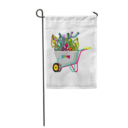 SIDONKU Red Wheelbarrow and Skeleton Skull in Garden Trolley Mexican Holiday Garden Flag Decorative Flag House Banner 28x40 inch