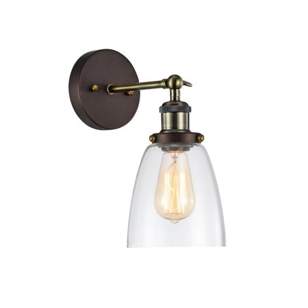 "CHLOE Lighting MANETTE Industrial-style 1 Light Rubbed Bronze Wall Sconce 6"" Wide"