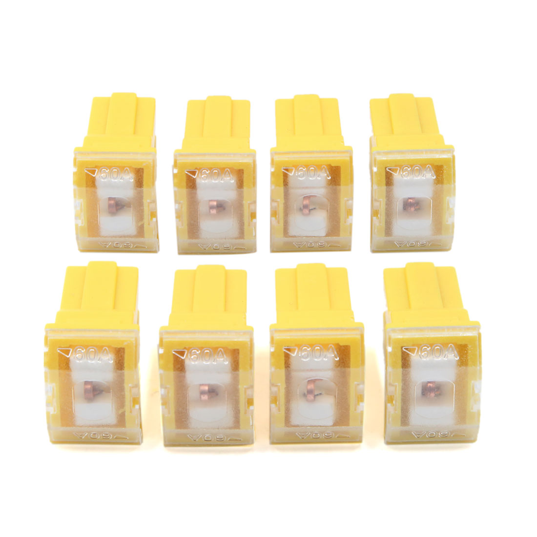 8Pcs Yellow Roof Shape Auto Car Push-in Type Female PAL Cartridge Fuse 60A