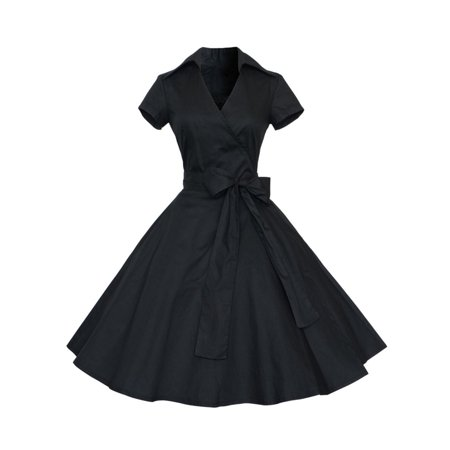 60s Dresses For Sale (Women Retro 50s 60s V Neck Swing Rockabilly Formal Dresses Tea Party)