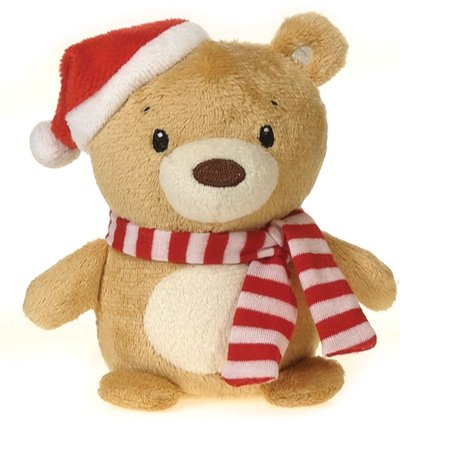 "Fiesta Mini Christmas Bean Bag Bear 4.5"" Plush Animal, Brown"