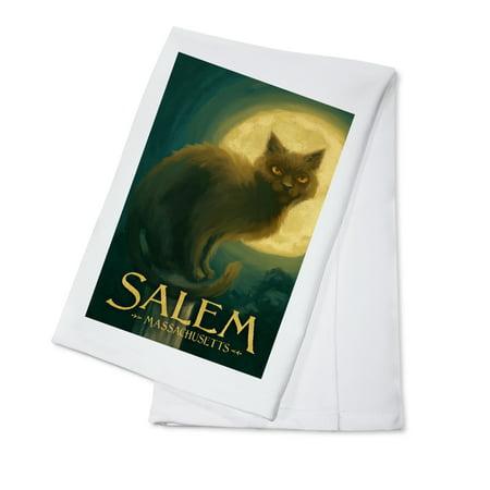 Salem, Massachusetts - Black Cat - Halloween Oil Painting - Lantern Press Artwork (100% Cotton Kitchen - Halloween Painting