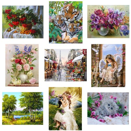 30x30CM Colorful Canvas Material Full Rhinestone Painting DIY Cross-stitch of Diamond Needlework Drawings for - House Cross Stitch