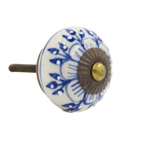 Shabby Restore Blue Zinnia Flower Ceramic Drawer/ Door/ Cabinet Pull Knob (Pack of 6)