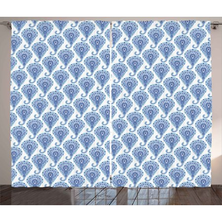Turquoise Leaf Motif (Indigo Curtains 2 Panels Set, Ethnic Paisley Motif with Floral Leaves Print on Raindrops, Window Drapes for Living Room Bedroom, 108W X 108L Inches, Turquoise Sky Blue and Navy Blue, by Ambesonne)