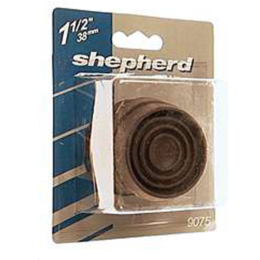 "Shepherd 9075 1-9/16"" Brown Round Cushioned Rubber Caster Cups, 4 Count"