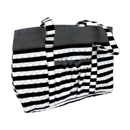 Fashion Bags Fabric Tote Black/White Embossed Fashion Tote