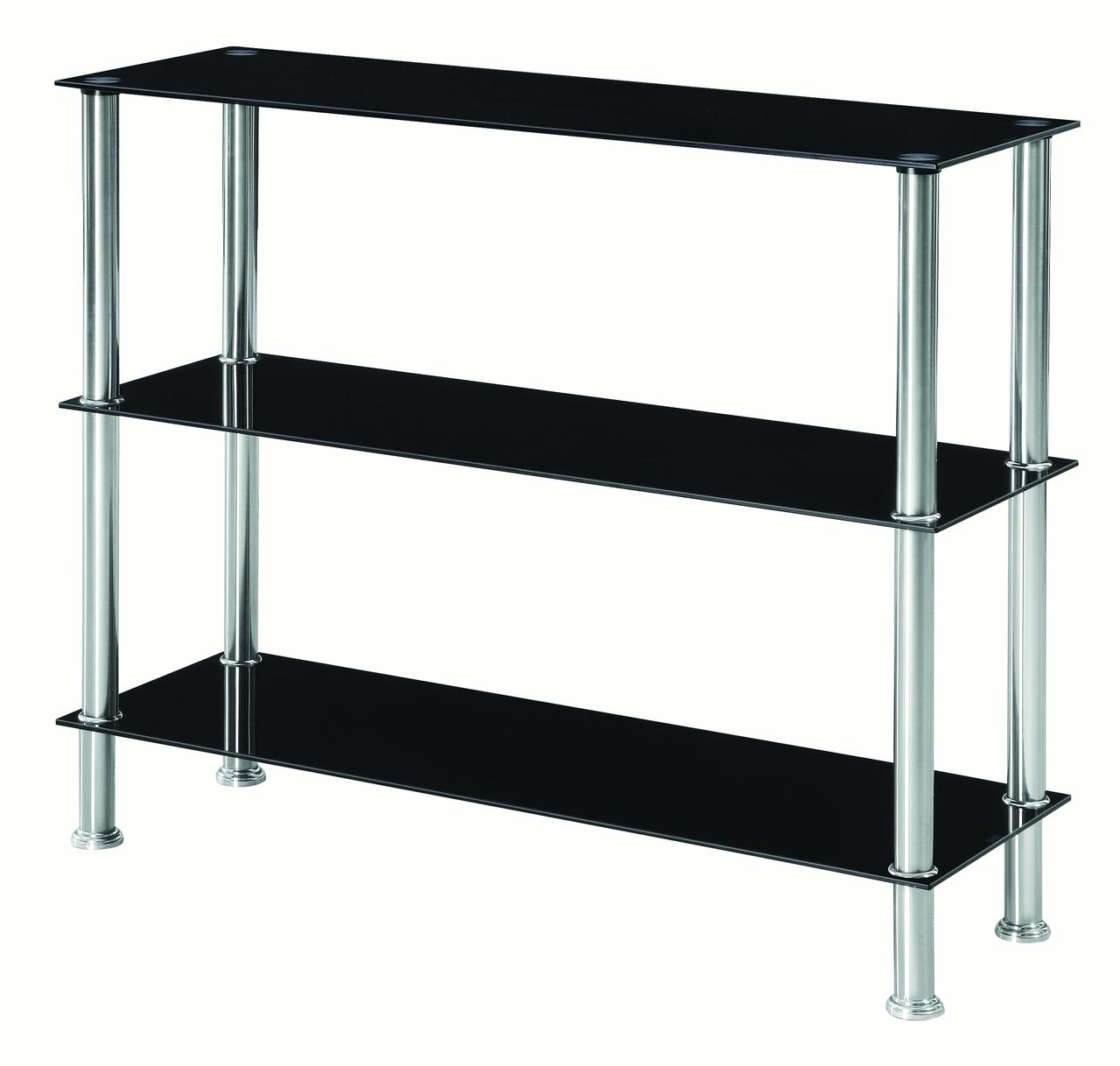 Glass 3 Tiers Console Table Bookshelf Black