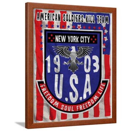 32129a526bce American Flag Eagle Man T Shirt Graphic Design Framed Print Wall Art By  emeget - Walmart.com