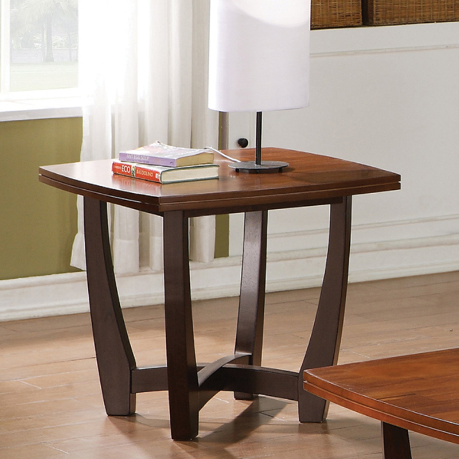 steve silver kenzo square cherry wood end table - walmart