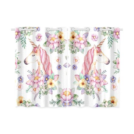 CADecor Floral Ponies Window Kitchen Curtain, Unicorn Window Treatment Panel Curtains,26x39 inches,Set of 2