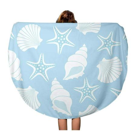 LADDKA 60 inch Round Beach Towel Blanket Blue Shell Pattern Seashells and Starfish Oyster Pearl Sand Travel Circle Circular Towels Mat Tapestry Beach Throw ()