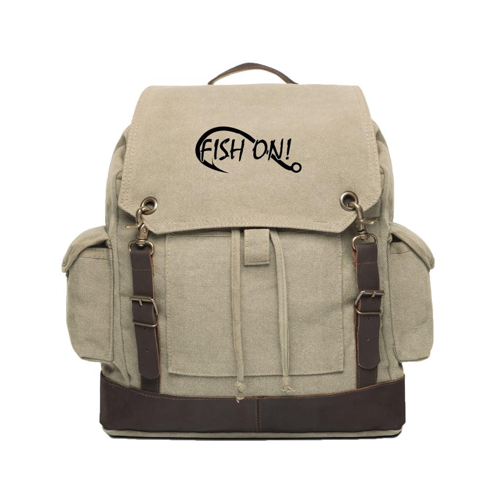 Fish On Fishing Hook Vintage Rucksack Backpack With Leather Straps Khaki /& Bk