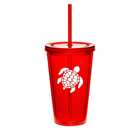 16oz Double Wall Acrylic Tumbler Cup With Straw Sea Turtle (Red) - Photo Acrylic Tumbler With Straw