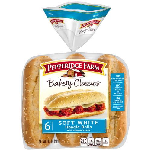 Pepperidge Farm Bakery Classics Soft White with Sesame Seeds Hoagie Rolls, 14.5 oz. Bag, 6-pack
