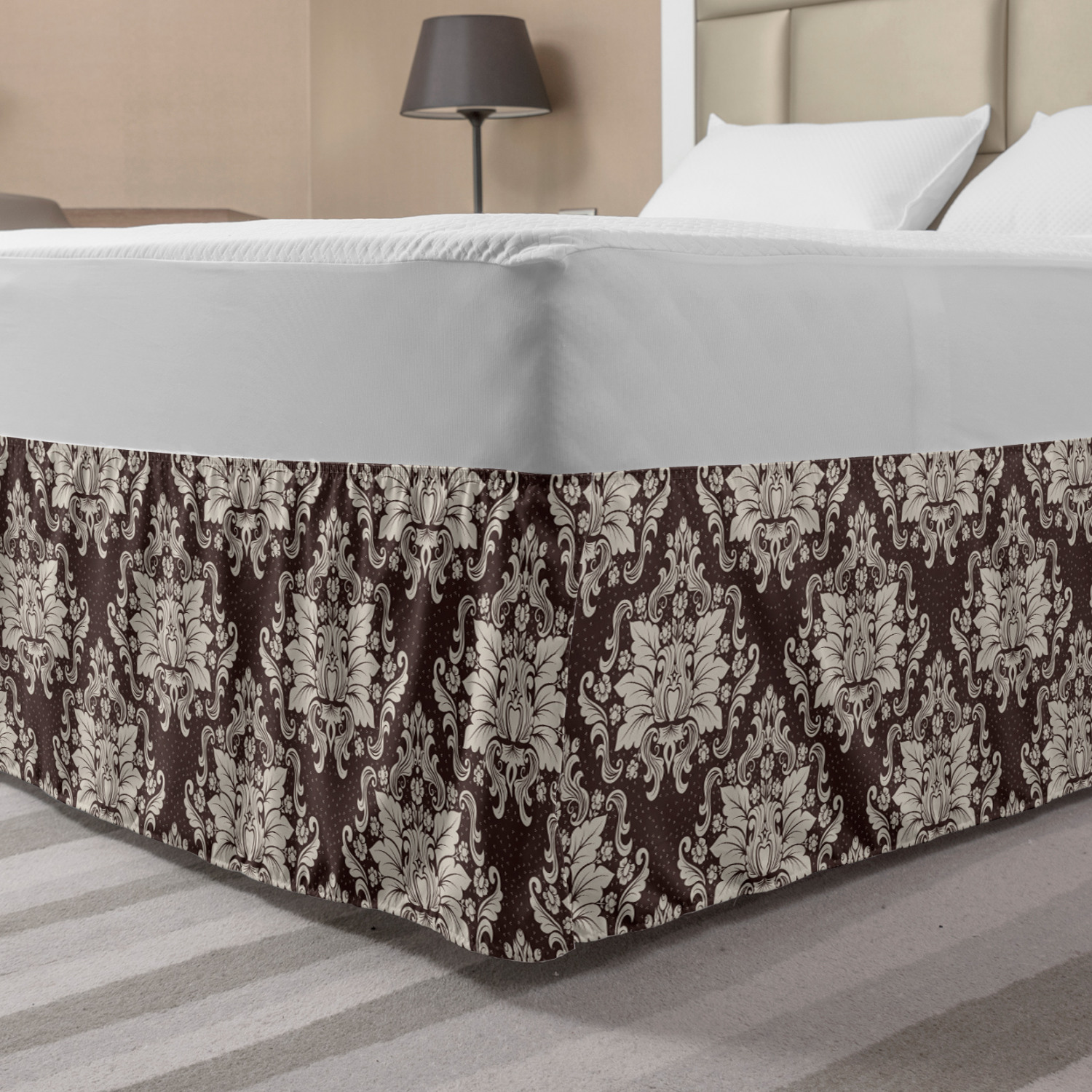 Damask Bed Skirt Victorian Floral Pattern With Blooming Foliage Leaves On Dark Toned Backdrop Elastic Bedskirt Dust Ruffle Wrap Around For Bedding Decor 4 Sizes Brown And Beige By Ambesonne Walmart Com