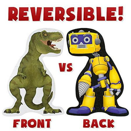 Imagination Generation Jumbo Dinosaur vs. Robot 48-piece Double Sided Floor Puzzle | 3-feet -